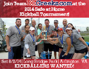 DCGreeks.com is once again fielding a team of Greek and Philhellene kickballers from all over the DC Metro area to compete in the one-day Safe at Home kickball tournament at Arlington's Long Bridge Park on Saturday 8/2/14 to benefit the Arlington-Alexandria Coalition for the Homeless! Kickballers wanted! Sign-up now!  Click here for details!