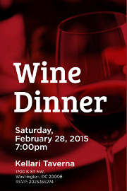 Enjoy a special five course meal with wine pairings at Kellari Taverna on Saturday, February 28, 2015 at 7:00 PM for only $95 with tax and gratuity included. Click here for details!
