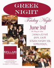 Please join us on Friday, June 3, 2016 for Kellari Taverna's First Friday of the Month Greek Night for a fun evening of authentic Greek music, food and dancing with live Greek music starting at 9:00 PM! Click here for details!