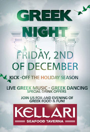 Please join us on Friday December 2, 2016 for Kellari Taverna's First Friday of the Month Greek Night for a fun evening of authentic Greek music, food and dancing with live Greek music starting at 9:00 PM! Click here for details!