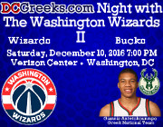 "DCGreeks.com invites you to return to the Verizon Center on Saturday, December 10, 2016 at 7:00 PM to watch the Washington Wizards take on ""Greek Freak"" Giannis Antetokounmpo and the Milwaukee Bucks, as we give our friends and followers a second chance to meet one of the NBA's most dynamic yet humble rising superstars! Click here for details!"