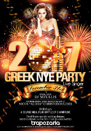 Greek New Year's Eve 2017 Celebration at Trapezaria in Rockville, MD, featuring a live performance by special guest singer straight from Cyprus, Nicos 'Aloha' Christodoulides, Saturday December 31, 2016 starting at 8:30 PM. Click here for details!
