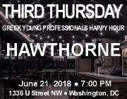 Third Thursday Young Greek Professionals Happy Hour -- 6/21/18 at Hawthorne in Washington, DC! Click here for details!