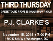Third Thursday Young Greek Professionals Happy Hour -- 11/15/18 at P.J. Clarke's in Washington, DC! Click here for details!