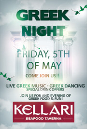 Please join us on Friday May 5, 2017 for Kellari Taverna's First Friday of the Month Greek Night for a fun evening of authentic Greek music, food and dancing with live Greek music starting at 9:00 PM! Click here for details!