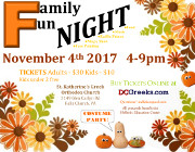 St. Katherine Paideia Bilingual Preschool and Nursery proudly invites you to its Family Fun Night 2017 on Saturday, 11/4/17 at 4:00 PM at the Meletis-Charuhas Center in Falls Church, VA. Tickets are on sale now at DCGreeks.com with no service charge! Click here for details!