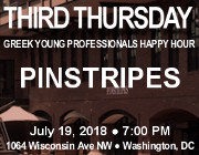 Third Thursday Young Greek Professionals Happy Hour -- 7/19/18 at Pinstripes Georgetown in Washington, DC! Click here for details!