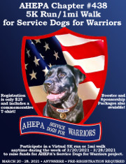 The Peter N. Derzis Chapter #438 of AHEPA will be hosting its inaugural 5K run/1 mile walk in virtual format from 3/20/21 to 3/28/21 to raise funds for AHEPA's Service Dogs for Warriors initiative. Click here for details!
