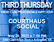 Third Thursday Greek Young Professionals Happy Hour - 5/20/21 at Courthaus Social in Arlington, VA! Click here for details!